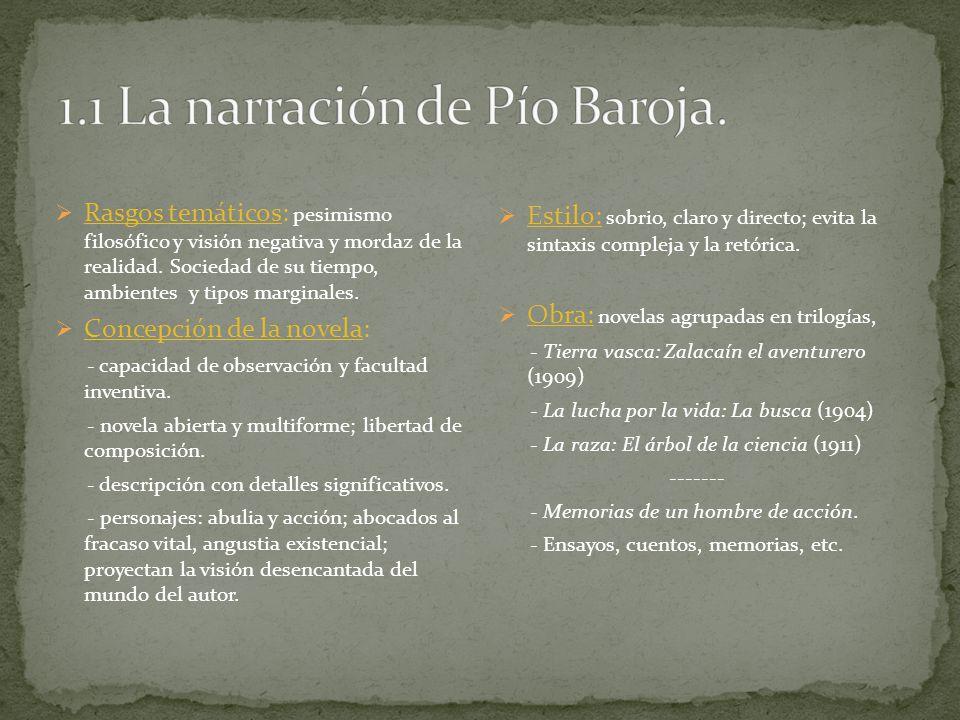 1.1 La narración de Pío Baroja.