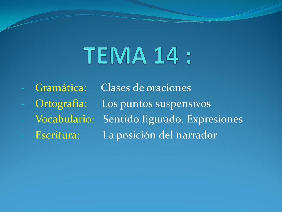 TEMA 14 : Gramática: Clases de oraciones