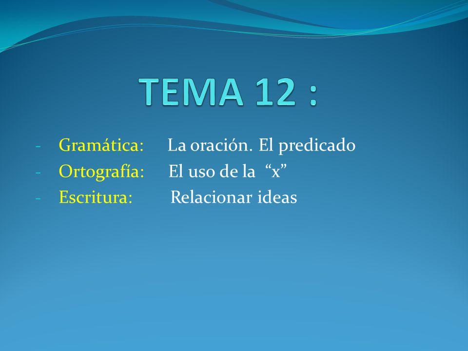TEMA 12 : Gramática: La oración. El predicado
