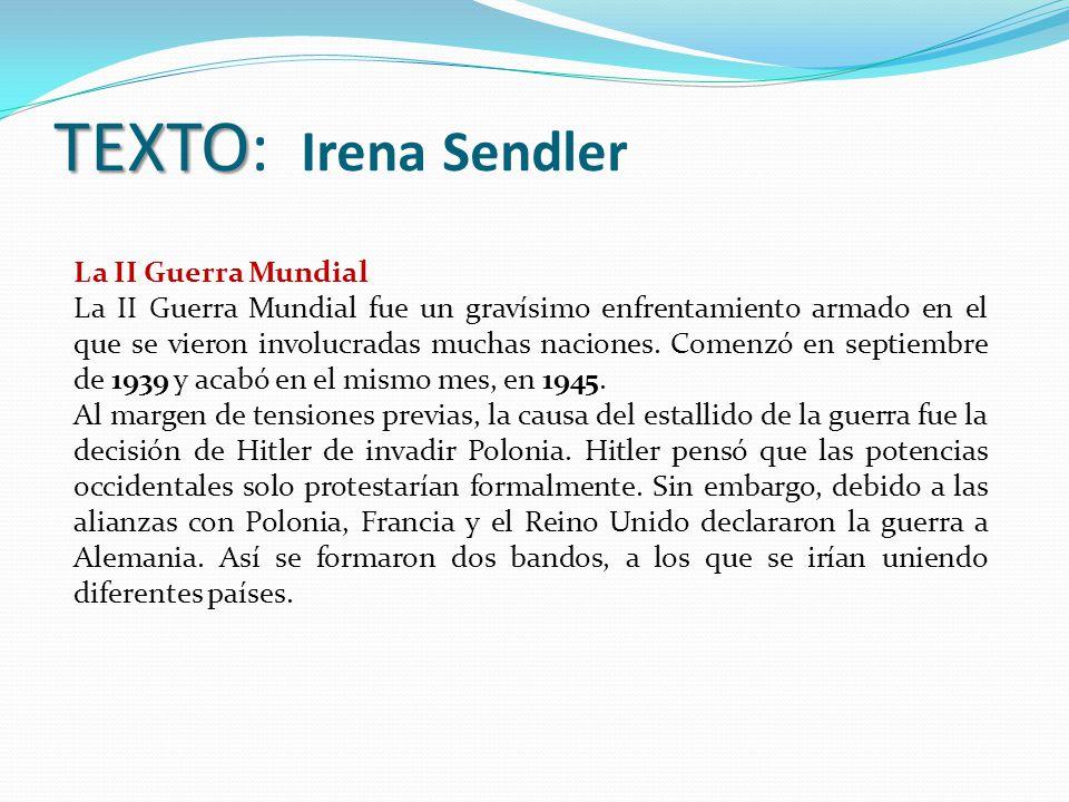 TEXTO: Irena Sendler La II Guerra Mundial