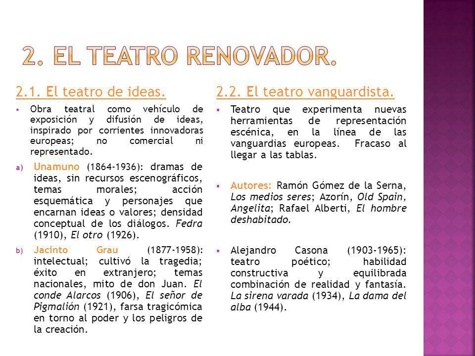 2. El teatro renovador. 2.1. El teatro de ideas.