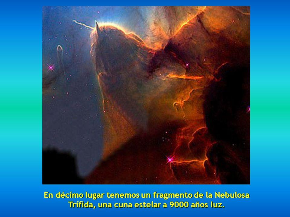 En décimo lugar tenemos un fragmento de la Nebulosa Trífida, una cuna estelar a 9000 años luz.