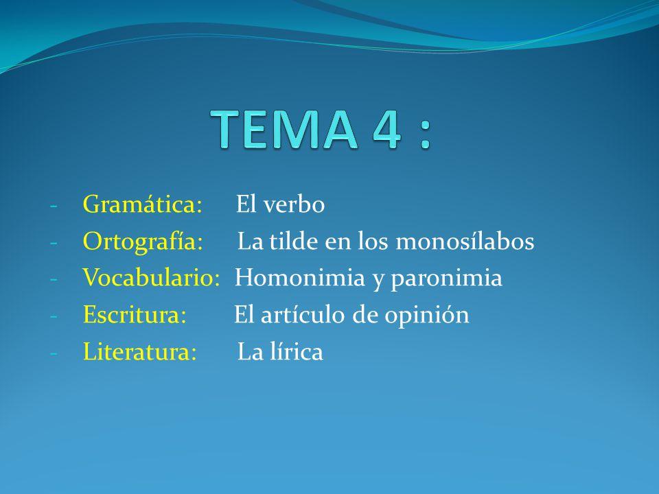 TEMA 4 : Gramática: El verbo Ortografía: La tilde en los monosílabos