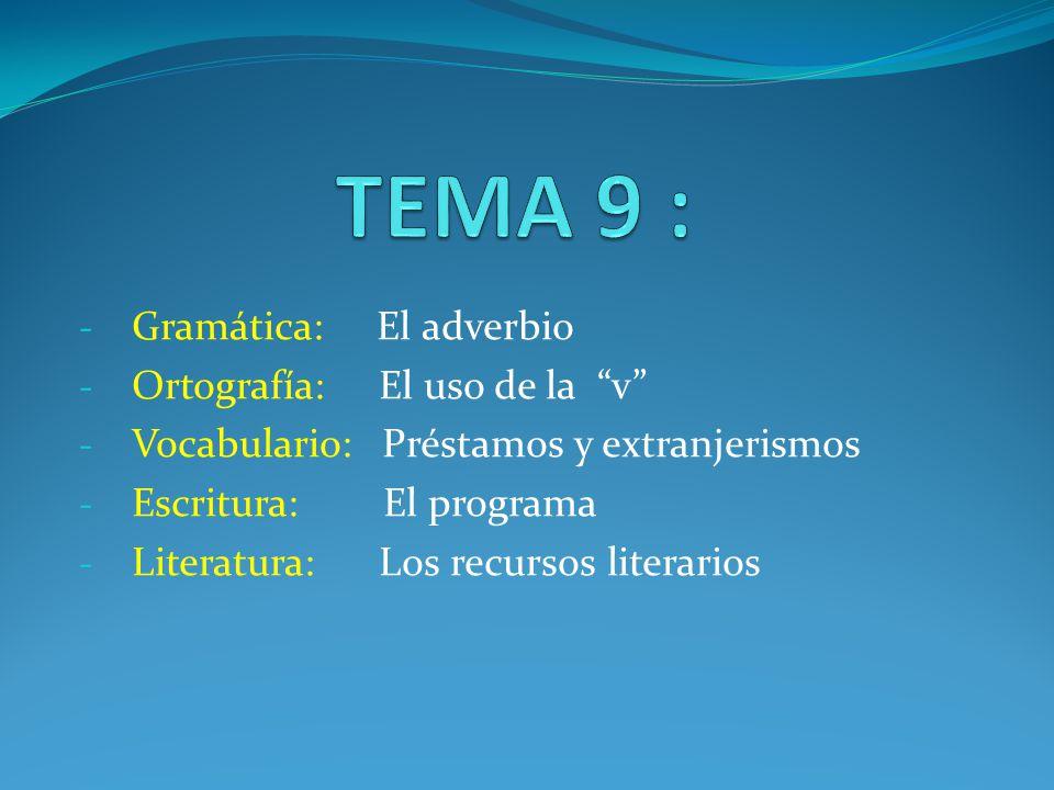 TEMA 9 : Gramática: El adverbio Ortografía: El uso de la v
