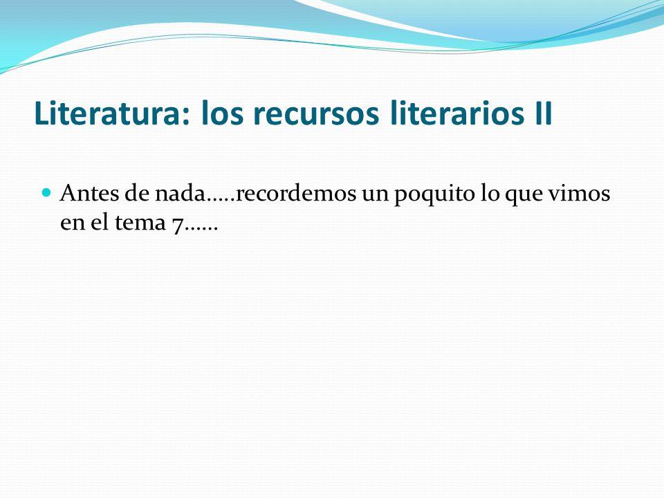 Literatura: los recursos literarios II