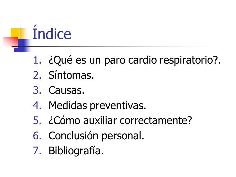 Índice ¿Qué es un paro cardio respiratorio . Síntomas. Causas.