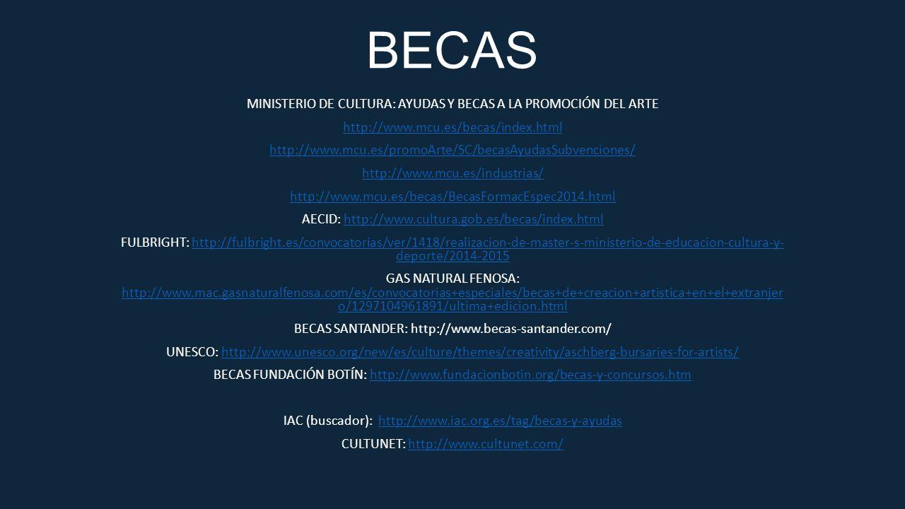 BECAS MINISTERIO DE CULTURA: AYUDAS Y BECAS A LA PROMOCIÓN DEL ARTE