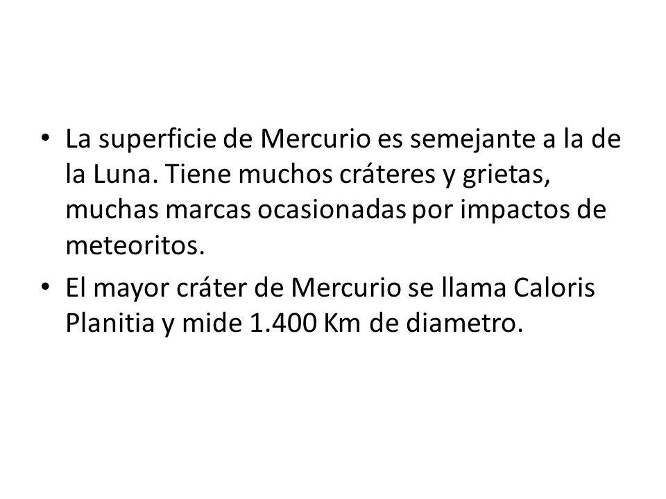 La superficie de Mercurio es semejante a la de la Luna