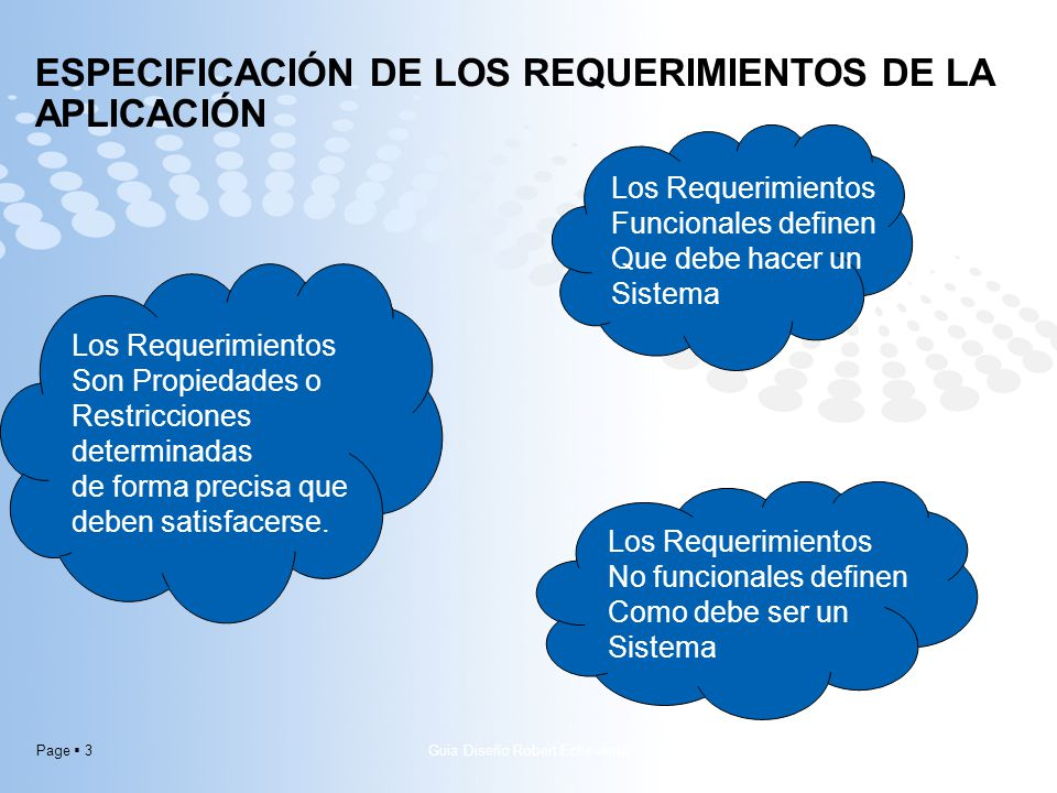 Especificación de los requerimientos de la aplicación