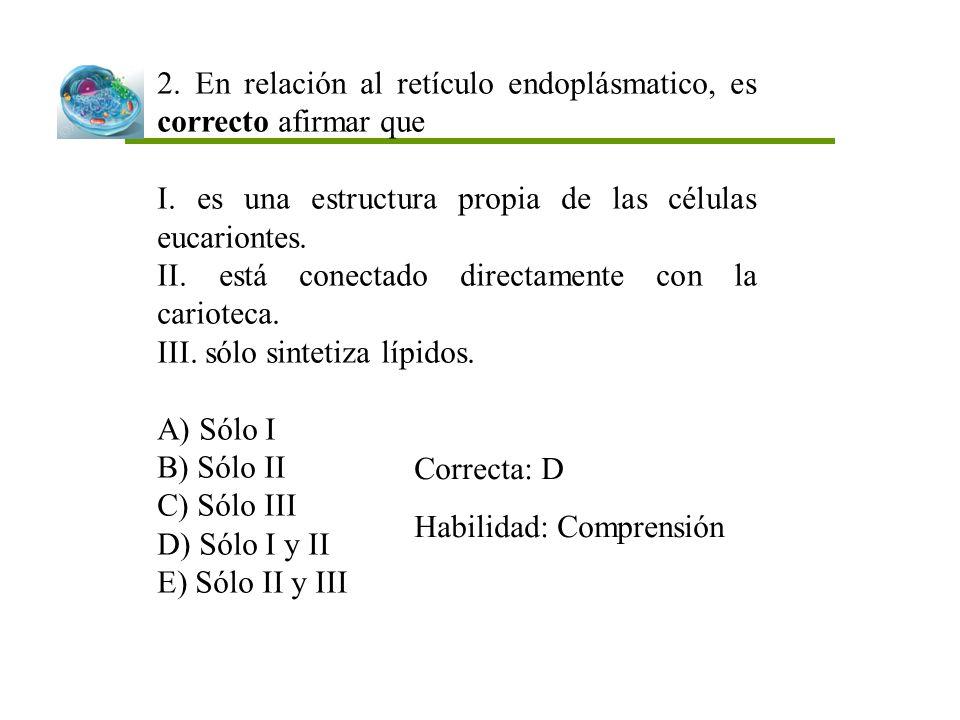2. En relación al retículo endoplásmatico, es correcto afirmar que