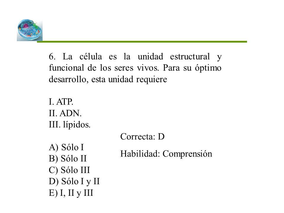 6. La célula es la unidad estructural y funcional de los seres vivos