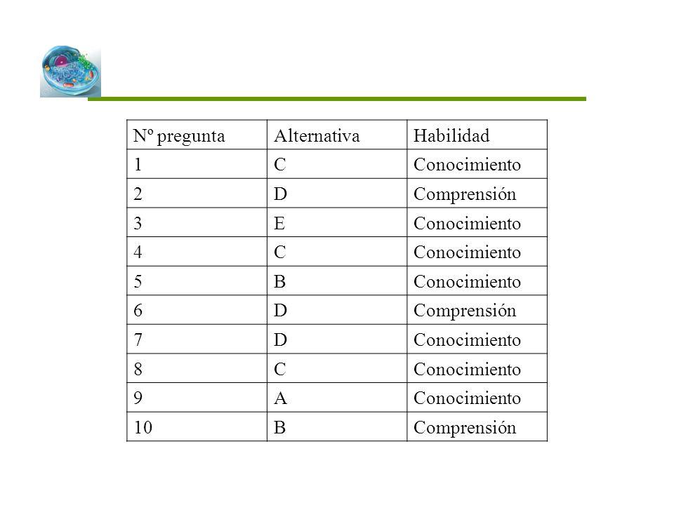 Nº pregunta Alternativa Habilidad 1 C Conocimiento 2 D Comprensión 3 E 4 5 B 6 7 8 9 A 10