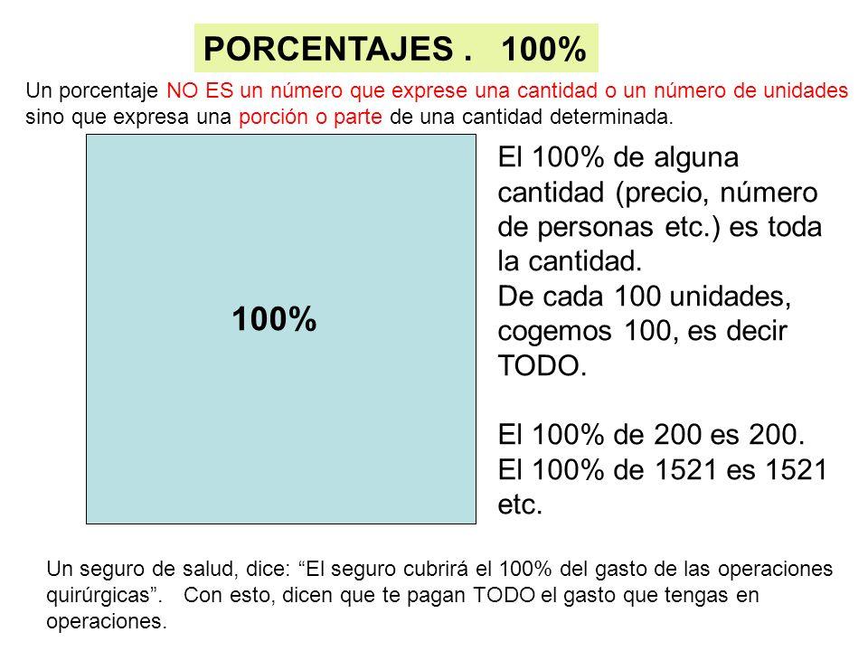 PORCENTAJES . 100% Un porcentaje NO ES un número que exprese una cantidad o un número de unidades.