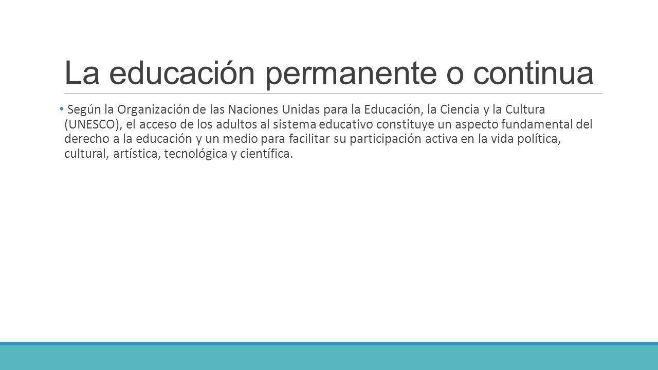 La educación permanente o continua