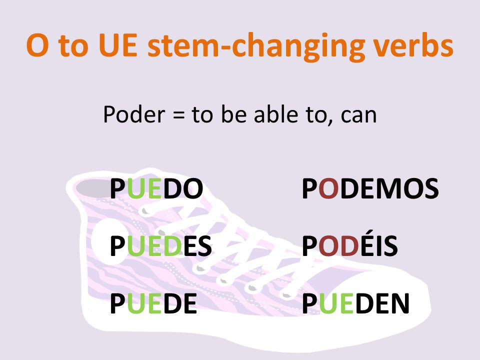 O to UE stem-changing verbs
