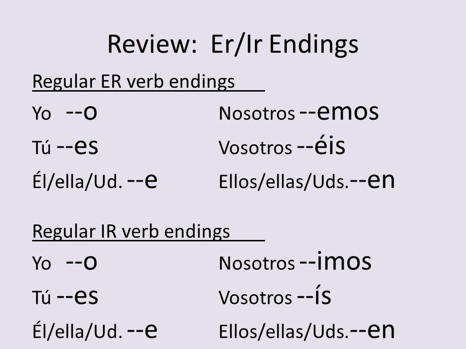 Review: Er/Ir Endings Regular ER verb endings Yo --o Nosotros --emos