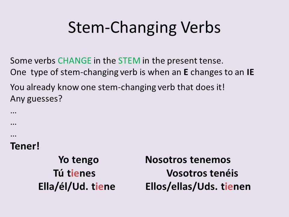 Stem-Changing Verbs Tener! Yo tengo Nosotros tenemos