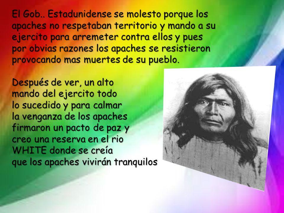 El Gob.. Estadunidense se molesto porque los apaches no respetaban territorio y mando a su ejercito para arremeter contra ellos y pues por obvias razones los apaches se resistieron provocando mas muertes de su pueblo.