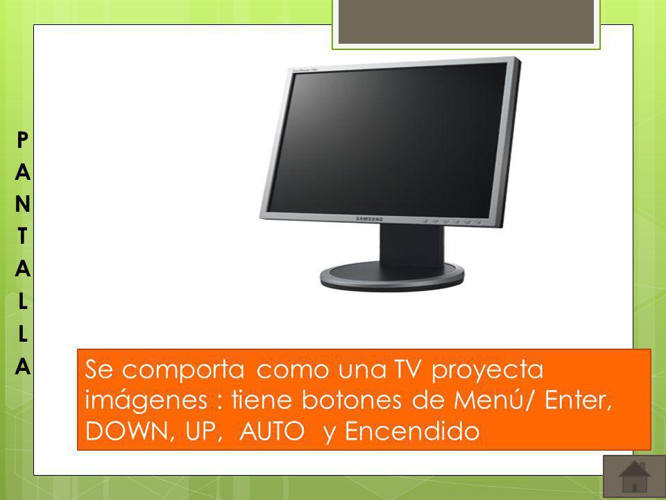 PANTALLA Se comporta como una TV proyecta imágenes : tiene botones de Menú/ Enter, DOWN, UP, AUTO y Encendido.