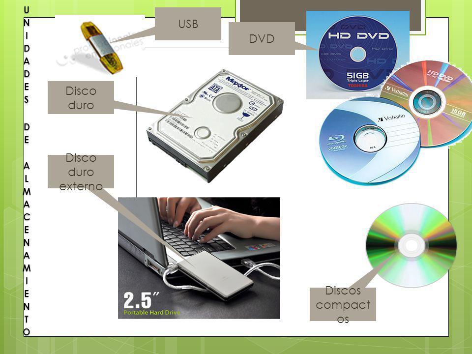 USB DVD Disco duro Disco duro externo Discos compactos