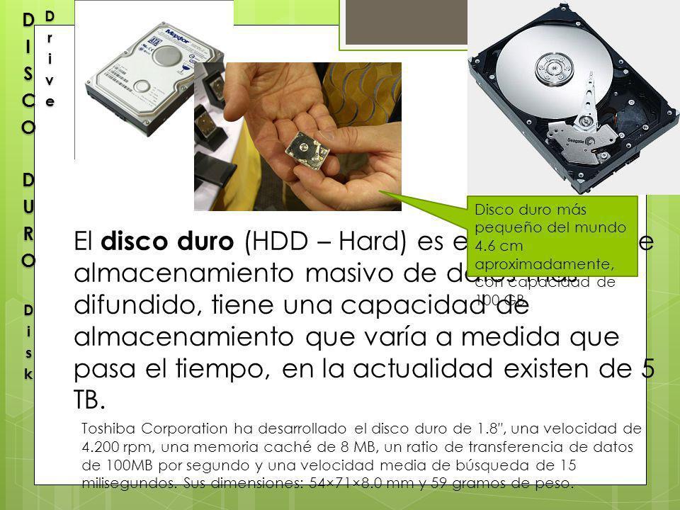 DISCO DURO Disk Drive Disco duro más pequeño del mundo 4.6 cm aproximadamente, con capacidad de 100 GB.