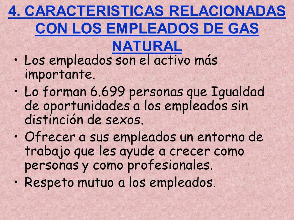 4. CARACTERISTICAS RELACIONADAS CON LOS EMPLEADOS DE GAS NATURAL