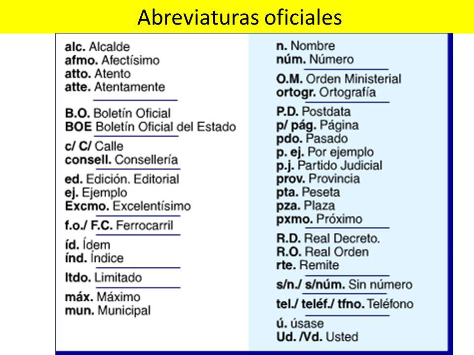 Abreviaturas oficiales