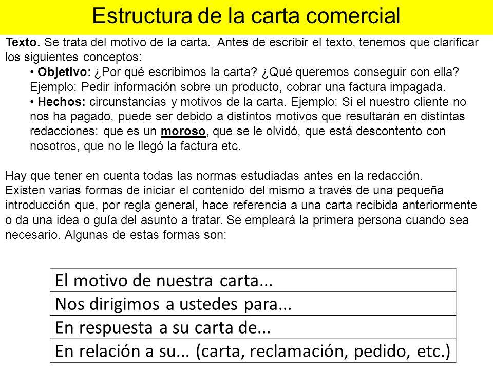 Estructura de la carta comercial