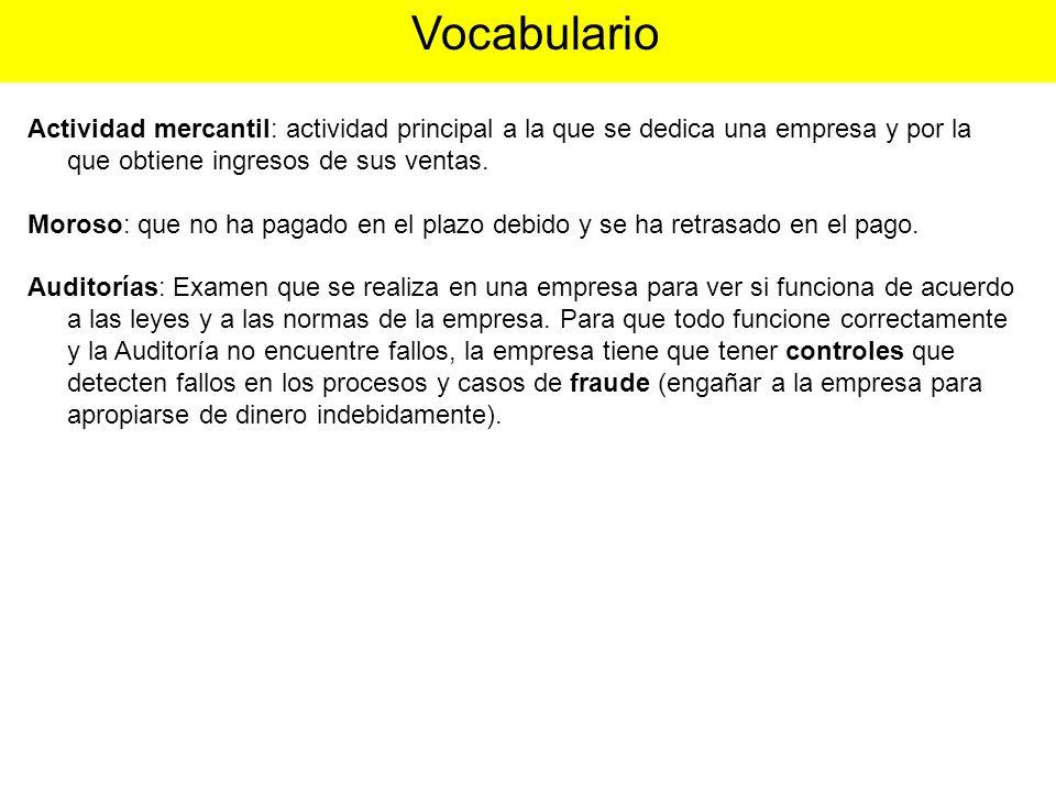 Vocabulario Actividad mercantil: actividad principal a la que se dedica una empresa y por la que obtiene ingresos de sus ventas.