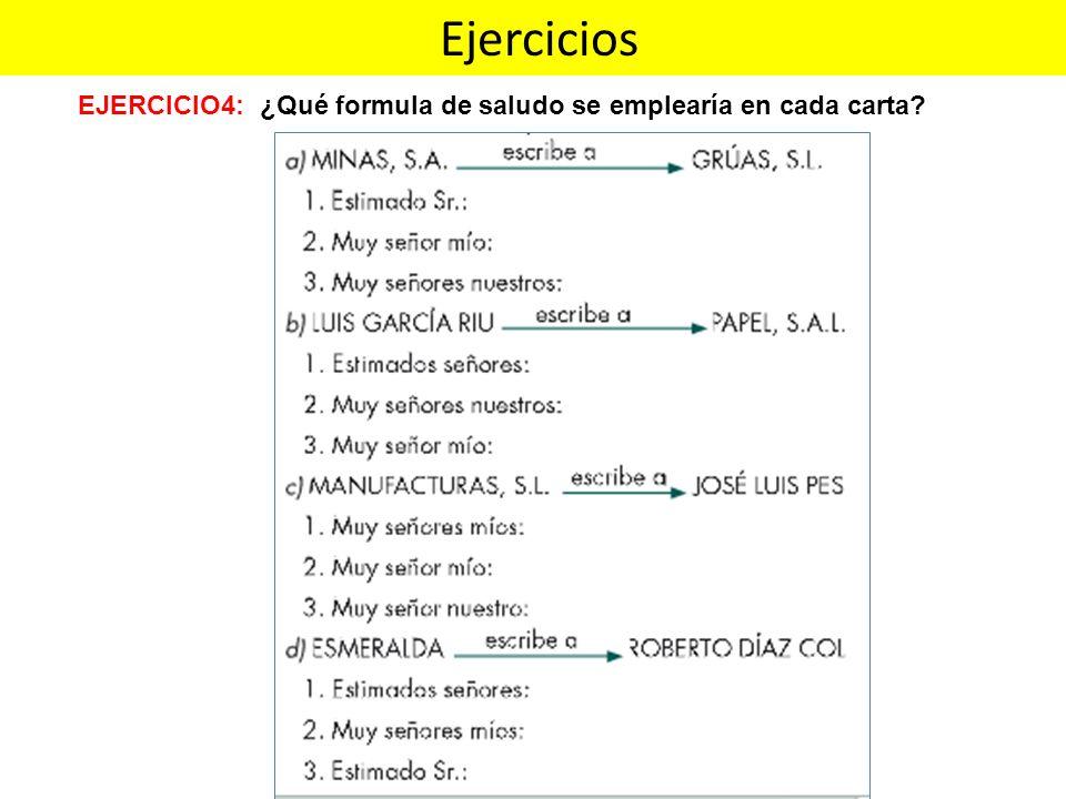 Ejercicios EJERCICIO4: ¿Qué formula de saludo se emplearía en cada carta