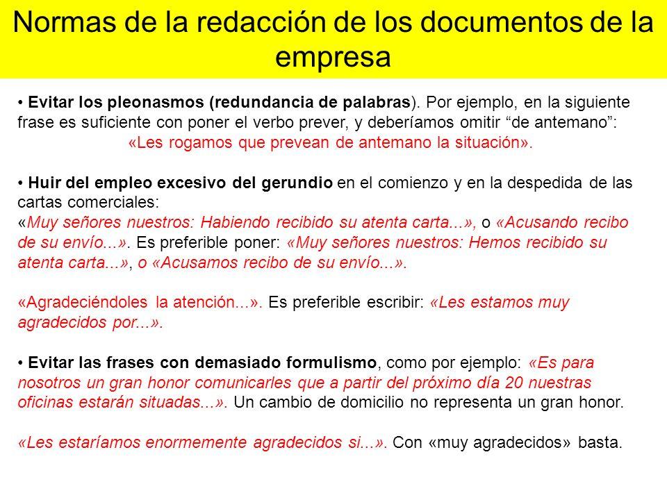 Normas de la redacción de los documentos de la empresa