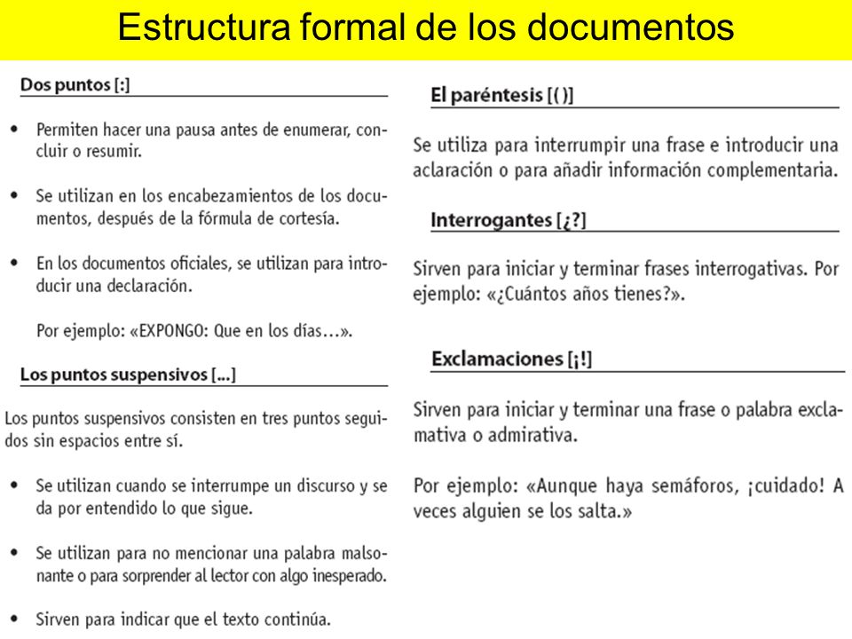 Estructura formal de los documentos