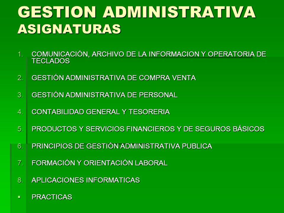 GESTION ADMINISTRATIVA ASIGNATURAS