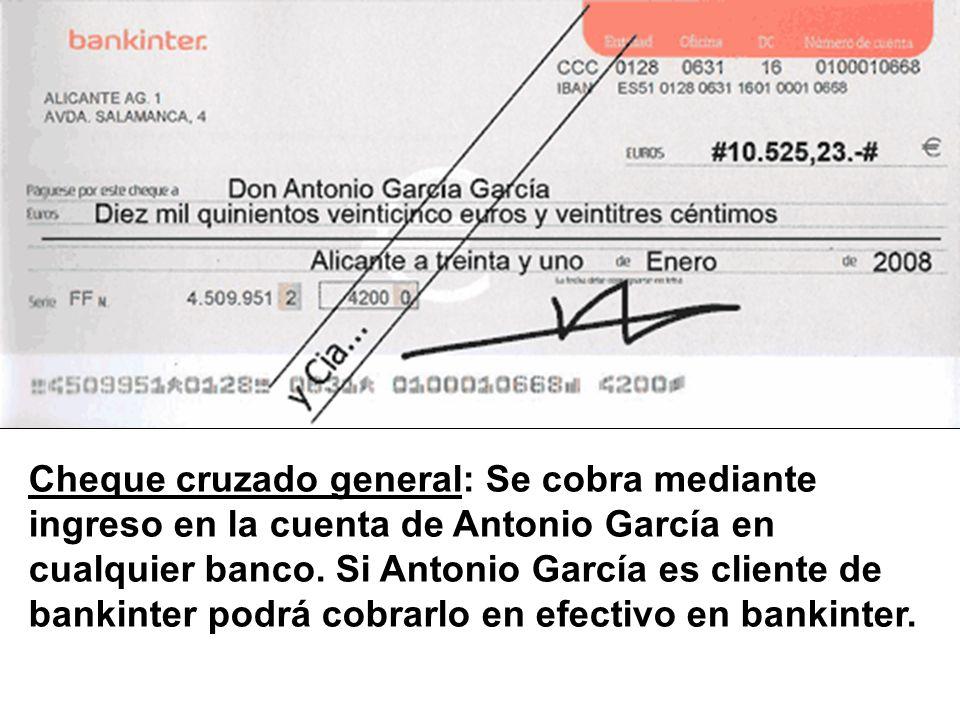 Cheque cruzado general: Se cobra mediante ingreso en la cuenta de Antonio García en cualquier banco.