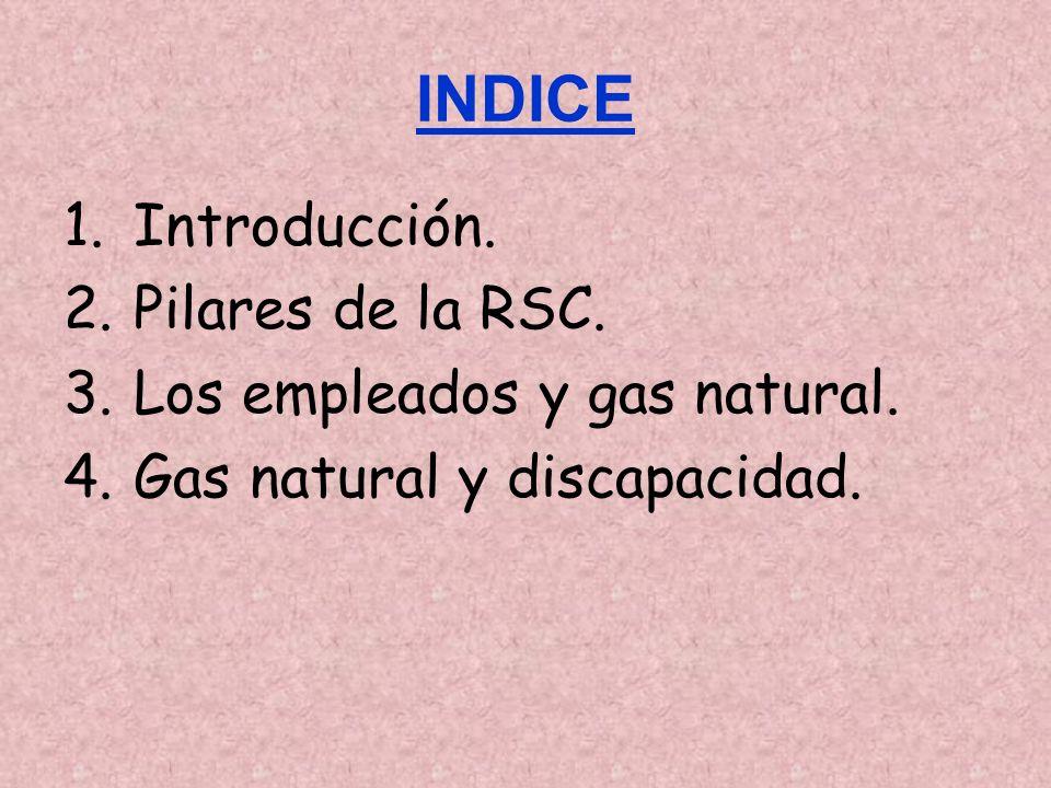 INDICE Introducción. Pilares de la RSC. Los empleados y gas natural.