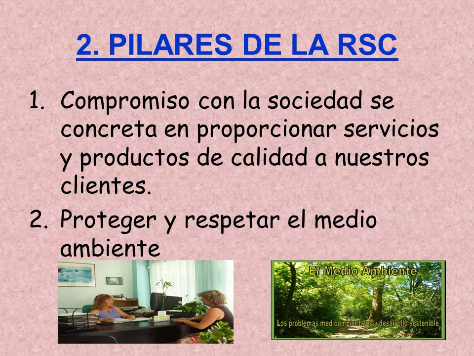 2. PILARES DE LA RSC Compromiso con la sociedad se concreta en proporcionar servicios y productos de calidad a nuestros clientes.