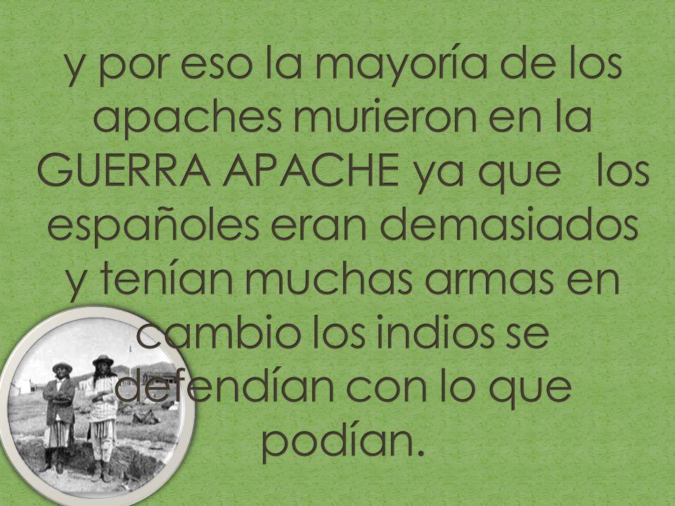 y por eso la mayoría de los apaches murieron en la GUERRA APACHE ya que los españoles eran demasiados y tenían muchas armas en cambio los indios se defendían con lo que podían.
