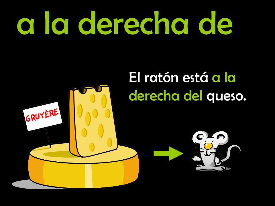 a la derecha de El ratón está a la derecha del queso.
