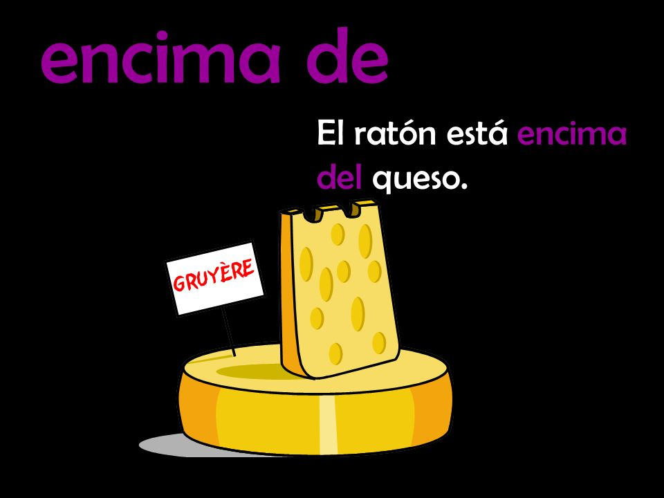 encima de El ratón está encima del queso.