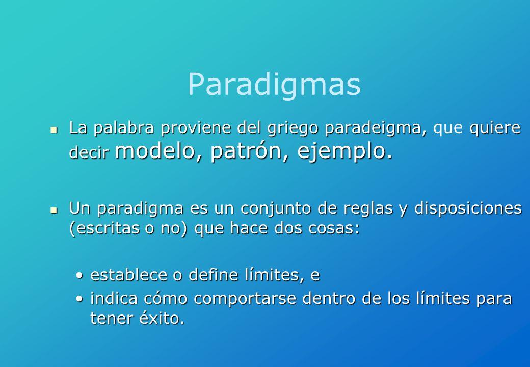 Paradigmas La palabra proviene del griego paradeigma, que quiere decir modelo, patrón, ejemplo.