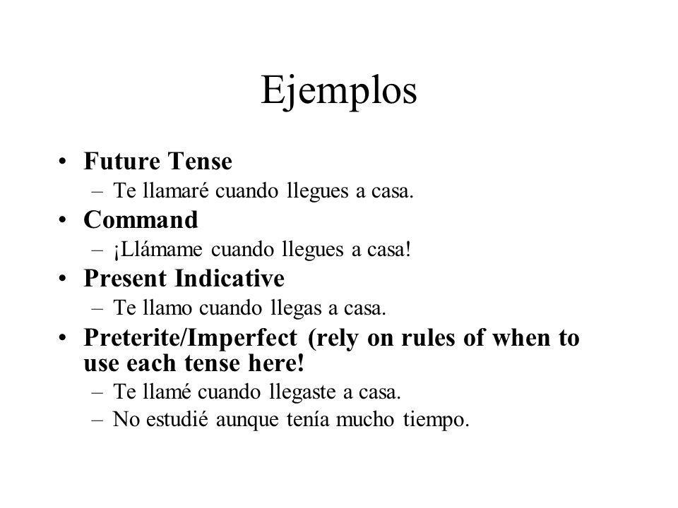 Ejemplos Future Tense Command Present Indicative