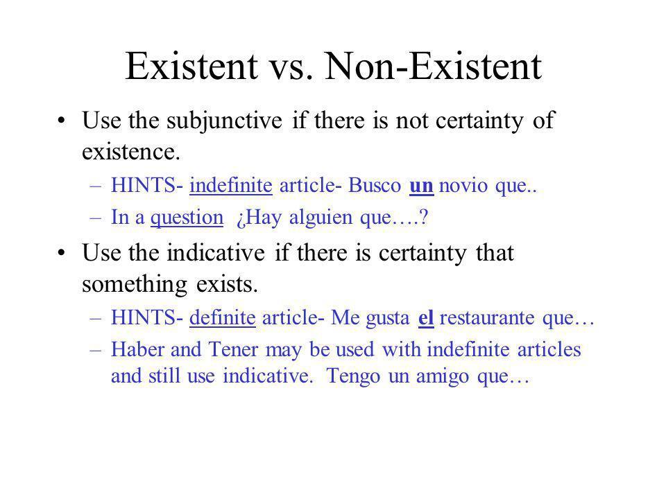 Existent vs. Non-Existent