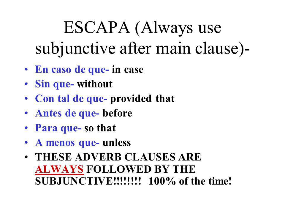 ESCAPA (Always use subjunctive after main clause)-