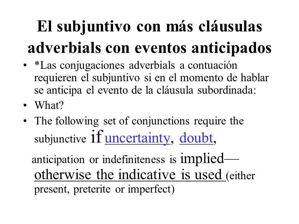 El subjuntivo con más cláusulas adverbials con eventos anticipados