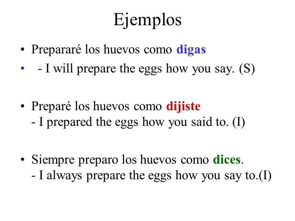 Ejemplos Prepararé los huevos como digas