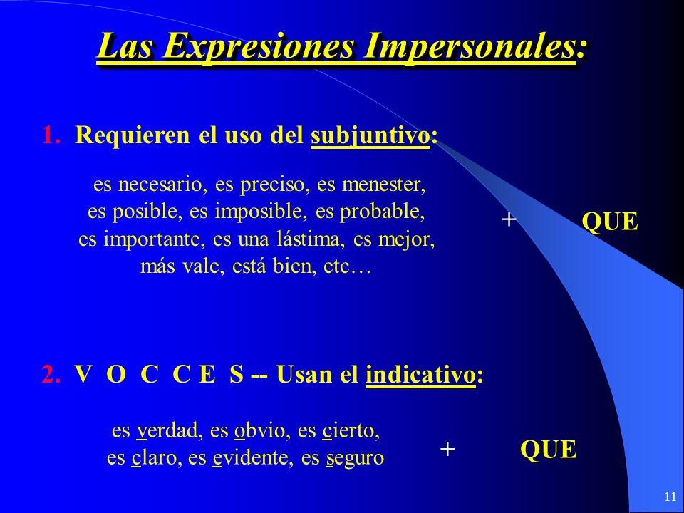 Las Expresiones Impersonales: