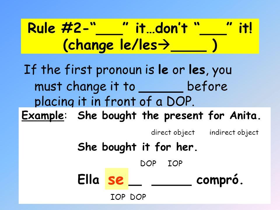 Rule #2- ___ it…don't ___ it! (change le/les____ )