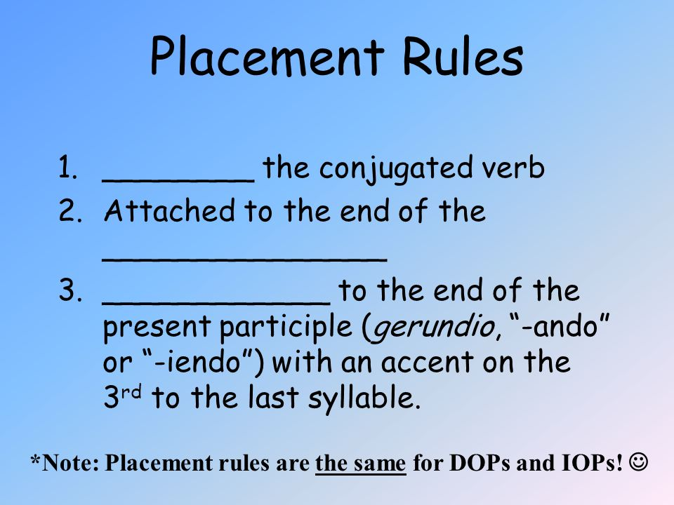 Placement Rules ________ the conjugated verb