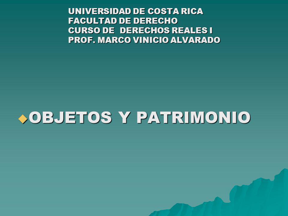 UNIVERSIDAD DE COSTA RICA FACULTAD DE DERECHO CURSO DE DERECHOS REALES I PROF. MARCO VINICIO ALVARADO