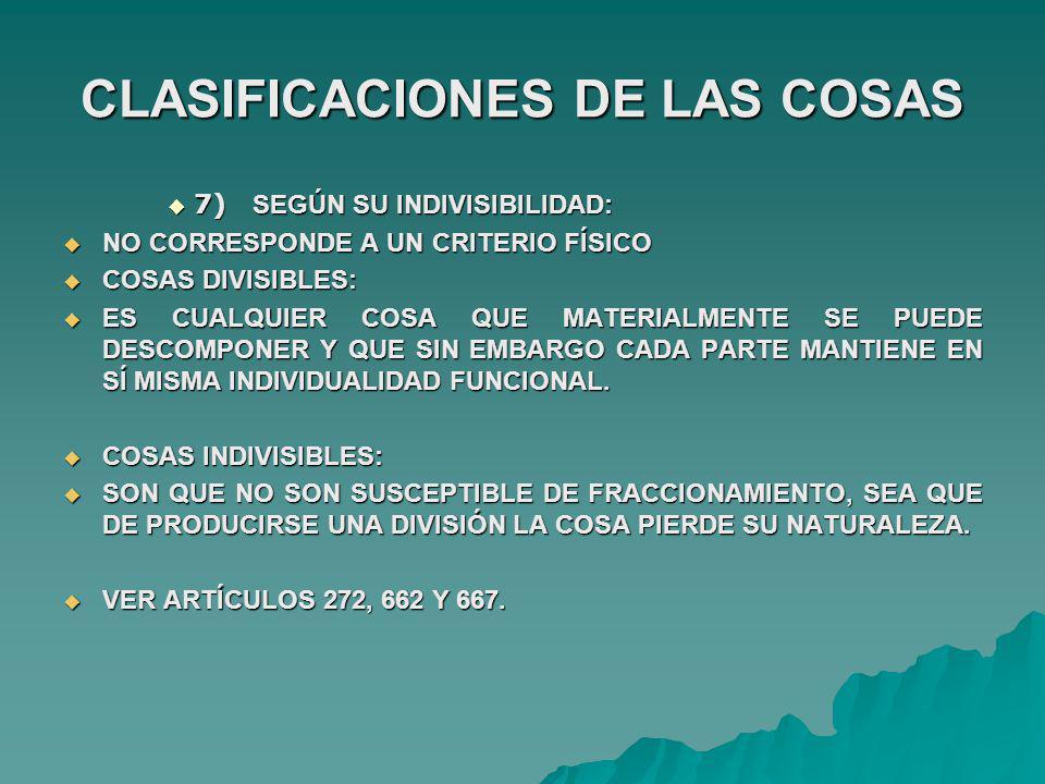 CLASIFICACIONES DE LAS COSAS